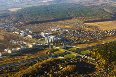 Junção de estrada na estrada, vista aérea, Rússia Fotografia de Stock Royalty Free