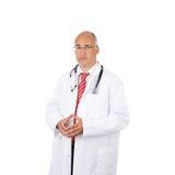 Junção masculina pensativa do doutor Standing With Fingers Imagens de Stock