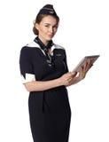 JUN 31, 2015 Air hostess in uniform of Russian airline Aeroflot Royalty Free Stock Photo