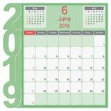 Jun 2019 Calendar Monthly Planner Design royalty free illustration