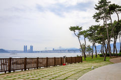 Jun 21, 2017 Gwangan Bridge seen from Nurimaru APEC House in Bus Royalty Free Stock Image