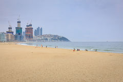 Jun 21, 2017 Haeundae plaża w Busan, Południowy Korea - sławna plaża Zdjęcia Stock