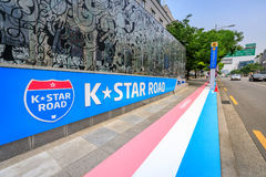 Jun 19, 2017 K-Star ROAD in front of Galleria Department Store i Royalty Free Stock Images