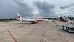 26 jun 20, Krabi Airport, Thailand. Arrival aircraft taxi to parking area at open bay. Following marshalling signals.