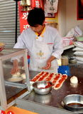 Jun Le, China: Chef Making Chinese Pizza Stock Images