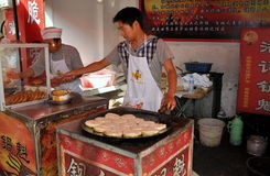 Jun Le, China: Chefs Making Chinese Pizzas Royalty Free Stock Photo