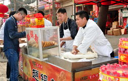 Jun Le, China: Chinese Pizza Vendors Royalty Free Stock Photo