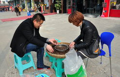 Jun Le, China: Couple Shelling Sunflower Seeds. Husband and wife seated outdoors on the sidewalk shelling sunflower seeds held in a large wicker basket in Jun Le Royalty Free Stock Image