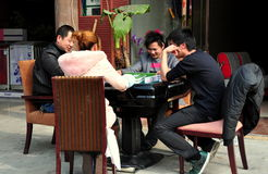 Jun Le, China: People Playing Mahjong Royalty Free Stock Photos