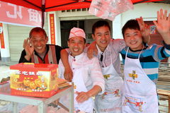 Jun Le Town, China: Pizza Vendors Stock Image