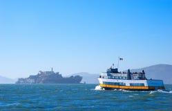 Tourist boat in San Francisco Bay Alcatraz Island excursion tou royalty free stock photo