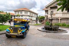 Jun 30,2018 : Tourists on a jeepney ride at Las casas filipinas,Bataan, Philippines. Bataan, Philippines - Jun 30,2018 : Tourists on a jeepney ride at Las casas Royalty Free Stock Photos