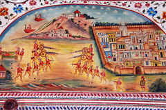 Junagarh Fort - painted wall Stock Photo