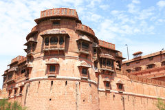 Junagarh red fort rajasthan india. One of the best forts in india,still standing regally, fort contains cannons,museums,lakes,palaces carvings,statues and Stock Photo