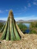 Juncos na ilha de Uros no Peru Fotos de Stock