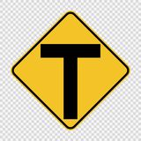 Junction ahead,The main intersection is T-shaped. sign on transparent background stock illustration