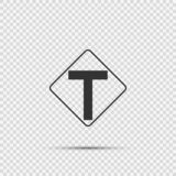 Symbol Junction ahead,The main intersection is T-shaped. sign on transparent background stock illustration