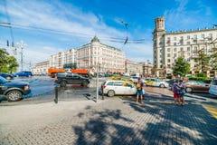 Junction between Boulevard Ring and Tverskaya street of Moscow Stock Photos