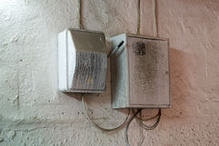 The junction box on a wall royalty free stock photos