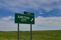 Junction City. US Highway Exit Sign for Junction City Stock Image