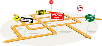 Junction. 3D road junction with warning traffic signs, vector illustration on decision making or crisis management Royalty Free Stock Photos
