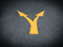Junction Directional Arrow on Asphalt Stock Photo