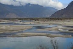 Junction of great river. At junction of Yarlu Zangbu river and Niyang River Royalty Free Stock Photo