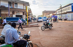 Junction. Jinja, Uganda -September 2015 - A poor road junction in Jinja town. The locals blame the poor road network in the district on bad governance and Royalty Free Stock Photo