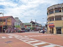 The junction of Lebuh Chulia with Jalan Masjid Kapitan Keling formerly Pitt Street in George Town Royalty Free Stock Photography