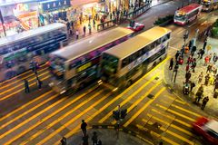 The junction in the night city Hong Kong Royalty Free Stock Photo