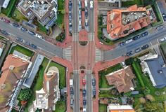 Junction with no traffic aerial view royalty free stock images