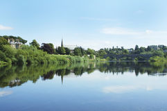 Junction pool on river tweed at Kelso Stock Photography