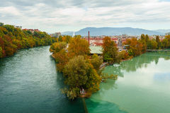 Colliding Rivers in Geneva Royalty Free Stock Photo