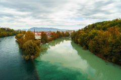 Junction of the Rhone and Arve Stock Image