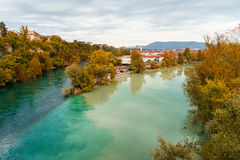 Junction of the Rhone and Arve Stock Photography