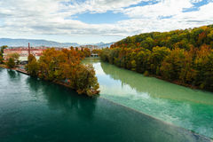 Colliding Rivers in Geneva Stock Photography