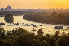 Junction of rivers Sava and the Danube in Belgrade Royalty Free Stock Image