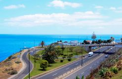 The junction roads. The junction of the roads near the airport of Madeira Royalty Free Stock Photography