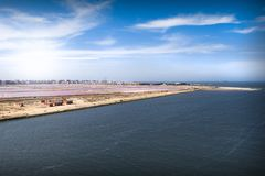 The junction of the Suez Canal into the Mediterranean at Port Sa Stock Photo