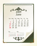 June 2009. 2009 calendar with a blanknote paper - vector illustration stock illustration