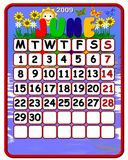 June 2009 calendar. Illustration of June 2009 calendar decorated with flowers and butterflies royalty free illustration