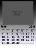 June 2010. Wall calendar with place for your kids image. Week starts on sunday stock illustration