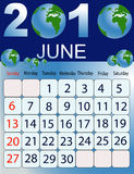 June 2010. Vector illustration of colored Calendar, 2010 Stock Photo