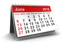 June 2010 calendar. 3d illustration of June 2010 calendar over white background Royalty Free Stock Photos