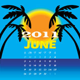 June 2011. Vector Illustration of 2011 Calendar with a monthly, I have all 12 months designed seperately or all 12 months in a single design Royalty Free Stock Photography