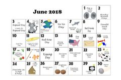 June 2018 Quirky Holidays and Unusual Events Royalty Free Stock Image