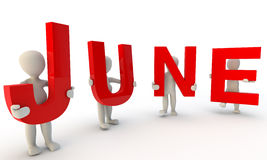 June. 3D humans forming red word June made from 3d rendered letters isolated on white Royalty Free Stock Image