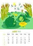 June. Vector calendar 2013. June. Animals design royalty free illustration