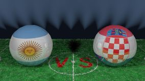 Argentina versus Croatia. 2018 FIFA World Cup.Original 3D image. June 21, Argentina vs Croatia 2018 FIFA World Cup.Original 3D image. Two balloons above a Stock Image