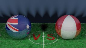 Australia versus Peru. 2018 FIFA World Cup.Original 3D image. June 26, Australia vs Peru 2018 FIFA World Cup.Original 3D image. Two balloons above a soccer Stock Photography